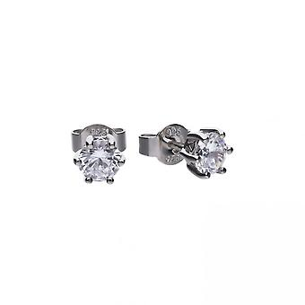 Diamonfire Silver & White Zirconia Claw Set 1ct Solitaire Stud Earrings