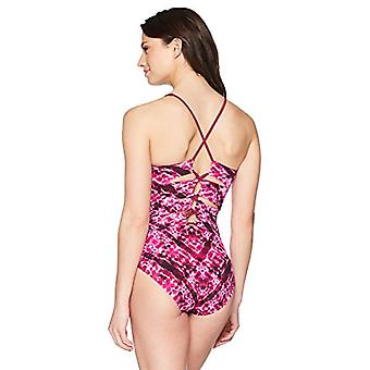Brand - Coastal Blue Women's Control One Piece Swimsuit, Ripple Effect/Pink, M (8-10)
