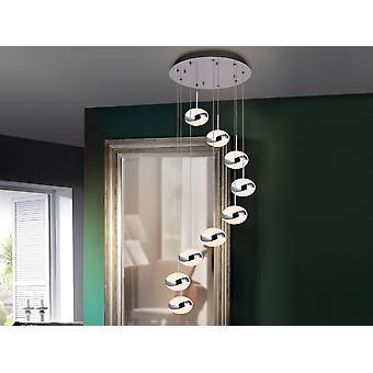 Integreret LED 9 Light Spiral Cluster Drop Loft Vedhæng Chrome