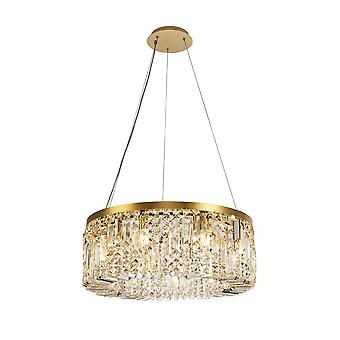 Éclairage Luminosa - Cylindre 60cm Plafond Pendentif Chandelier, 8 Lumière E14, Or, Cristal