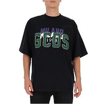 Gcds Fw21m02005802 Men's Zwart Katoen T-shirt