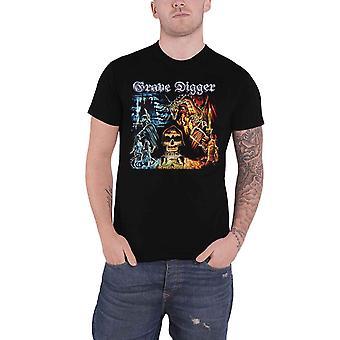 Grave Digger T Shirt Rheingold Band Logo nouveau officiel Mens Black