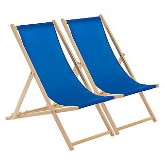 Traditional Adjustable Wooden Beach Garden Deck Chair - Royal Blue - Pack of 2