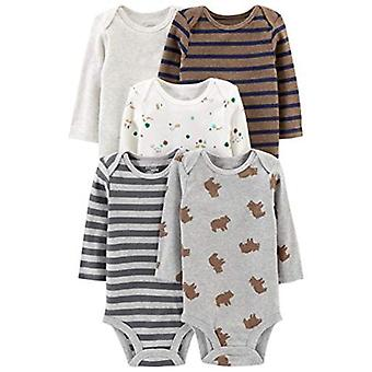 Simple Joys by Carter's Baby Boys' 5-Pack Long-Sleeve Bodysuit, Sailboat/Blue Stripe/Orange/Gray, 3-6 Months