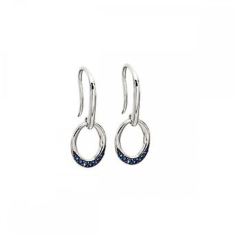 Elements Gold White Gold Sapphire Pave Oval Donut Earrings GE2139L