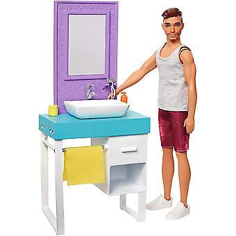 Barbie fürdőszoba playset - borotválkozás Ken Doll és mosogató
