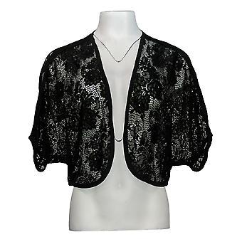 Colleen Lopez Women's Sweater Floral Lace Bolero Topper Black 701-967