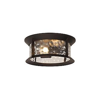 Genevieve Flush Ceiling Lamp, 2 Xe27, Antique Bronze/clear Ripple Glass, Ip54, 2yrs Warranty
