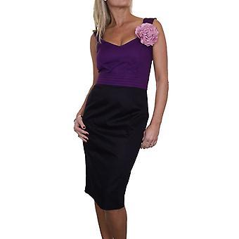 Mujeres's Midi Brocade vestido de lápiz sin mangas debajo de la rodilla completamente forrado con flor 8-14