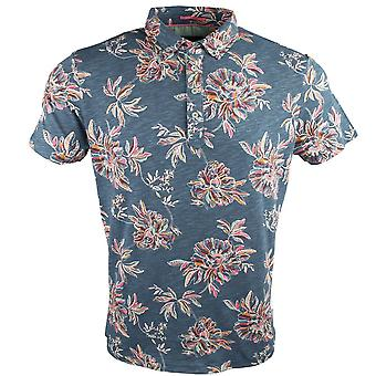 Guide London Bold Floral Print Cotton Polo T-Shirt