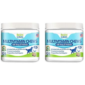 Herbion Animale de companie Multivitamin chews cu cânepă și probiotice, 120 Soft Chews (2 Pack)