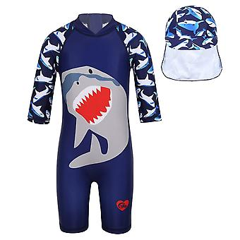 Enfants 1-pcs Surfing Swimwear Shark Pattern Costume imprimé avec bonnet de bain