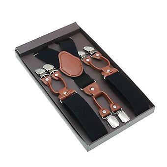 Male Shirt Suspenders Brown Pu Leather Solid Suspenders Western-style