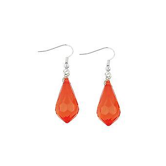 Hook Earrings Transparent Red Grinded