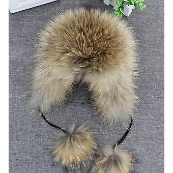 100% Real Fox Fur Hat Women's Russian Ushanka Aviator Trapper Snow Skiing Hat