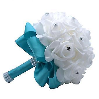 Elegant Royal Blue Wedding Bouquet Artificial Bridal Flowers Bride Bouquet