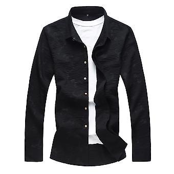 YANGFAN Men's Revers geprint long sleeve shirt