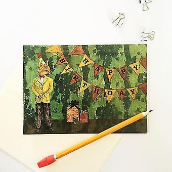 """happy Birthday"" Party Fox Birthday Card"