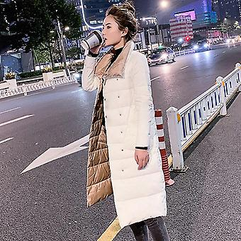 Women Double Sided Down Long Jacket, Winter Coat, Double Breasted, Warm Parkas