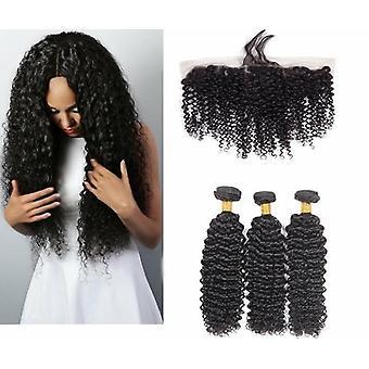 10a Grade Kinky Curly 3/4 Bundles With Frontal Peruvian Human Hair