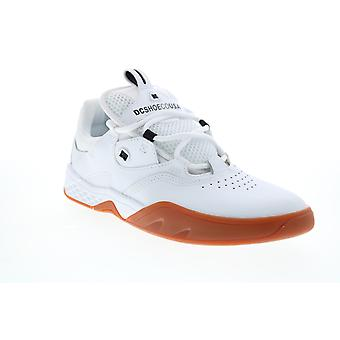 DC Kalis  Mens White Leather Lace Up Skate Inspired Sneakers Shoes