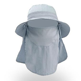 Windproof Sun Hat cu șal detașabil pentru pescuit, ciclism, drumetii, camping