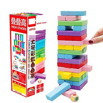Colorful Kids Rainbow Building Blocks Wood Toy (multicolor)