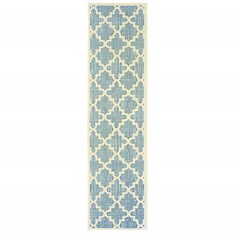 8' Tropical Light Blue and Ivory Quatrafoil Indoor Outdoor Runner Rug