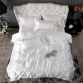 Suave juego de ropa de cama de seda satinada suave, sábana de color sólido de lujo, edredón de edredón