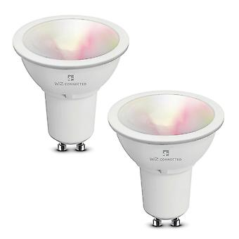 WiZ LED GU10 Smart Bulb WiFi & Bluetooth RGBW Colours Tuneable White & Dimmable, 2 Pack