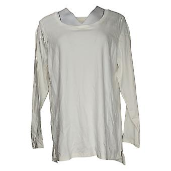 Isaac Mizrahi Live! Women's Plus Top Pima Hi-Low Hem Knit Ivory A389762