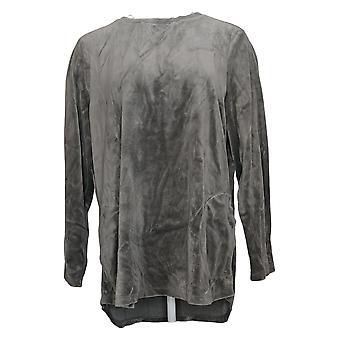 Denim & Co. Women's Top Active Regular Velour Tunic Gray A260064