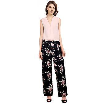 Chic Star Tie Retro Pants In Black/Floral