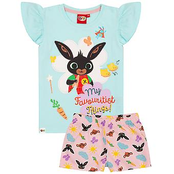 Bing Bunny Pyjamas For Girls | Pink Blue Sula Characters PJs with Frilly Short Sleeve T-Shirt & Shorts | CBeebies Childrens Show Merchandise