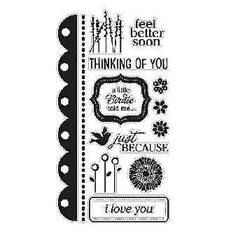 American Crafts Clear Stamp Set - Sentiments - Large