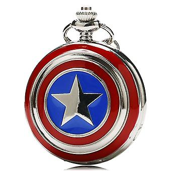 New Pocket Watch Captain Star Shield Pendant Watch With Necklace Chain