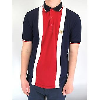 Glover Navy & Red Panel Polo Shirt