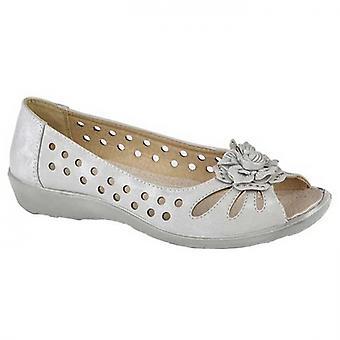 Boulevard Lola Ladies Open Toe Shoes Light Silver Shimmer