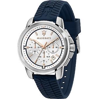 Maserati R8871621013 Men's Successo Chronograph Blue Silicone Strap Wristwatch