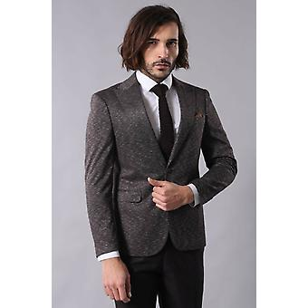 Single button double vent pointed collar brown blazer