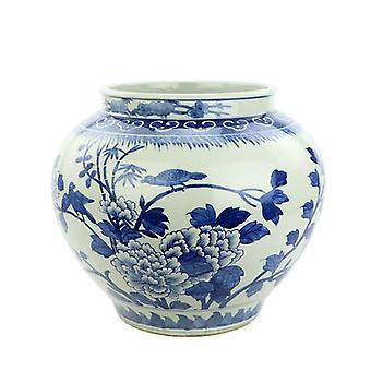 Blue and white hand painted peony and bird porcelain vase