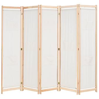 5-Panel Room Divider Wooden and Fabric,79��x67��x1.6��/ 200 x 170 x 4 cm Privacy Indoor Partition with Bags, Cream