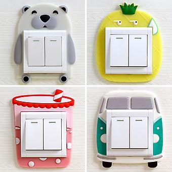 Luminous Switch Outlet Wall Sticker Cartoon Animal Switch Cover Room Decor 3D Silicone On-off Switch Sticker