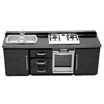 Κουκλόσπιτο μαύρο μοντέρνα κουζίνα έπιπλα νεροχύτη & amp; amp; Μικροσκοπική σόμπα μονάδων κουζίνας
