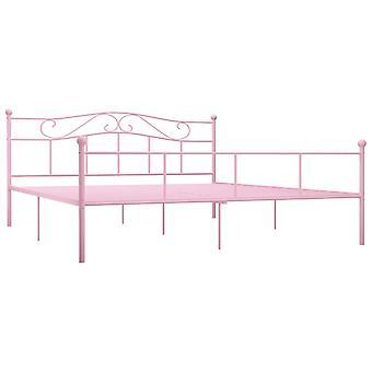 vidaXL Sängyn runko Vaaleanpunainen Metalli 200×200 cm