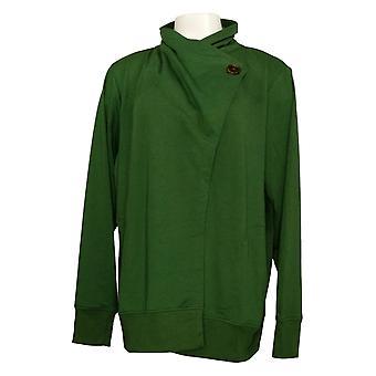 Cuddl Duds Suéter de mujer Plus Comfort Drape Front Cardigan Green A373480