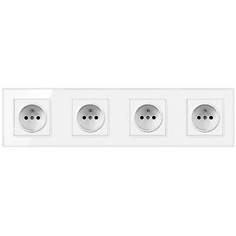 Eu 16a Crystal Glass Panel Socket 4 Gang Wall Power Outlet With Pins