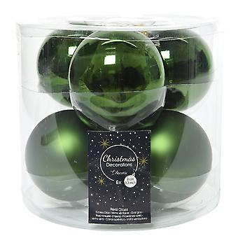 6 8cm Pine Green Glass Christmas Tree Bauble Decorations