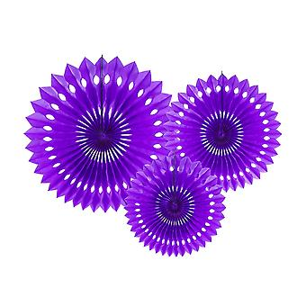3 Violet Assorted Size Hanging Tissue Paper Paper Fan Decorations
