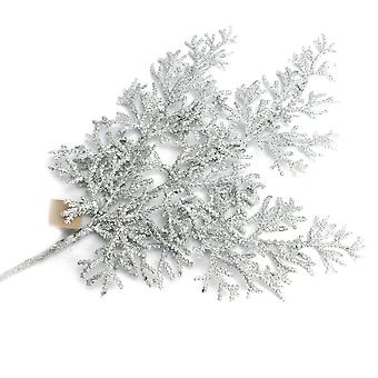 41cm Glittered Cypress Spray | Silber